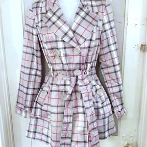 Grey and red plaid pea coat, sz M
